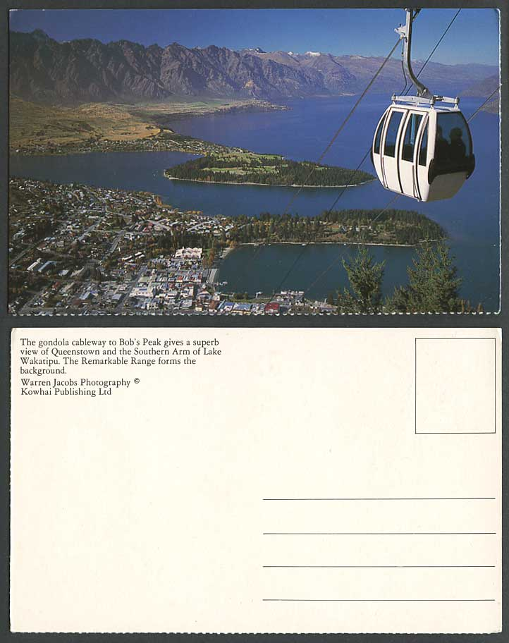 New Zealand Postcard Gondola Cableway to Bob's Peak, Queenstown S. Lake Wakatipu