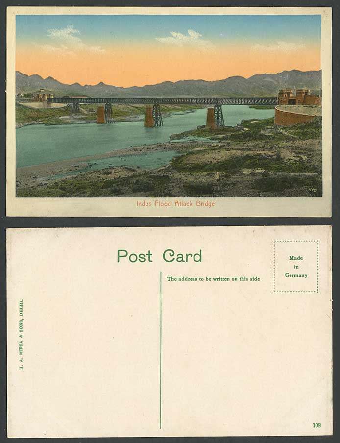 Pakistan Old Postcard INDUS FLOOD Warning System Attack Bridge River Scene India