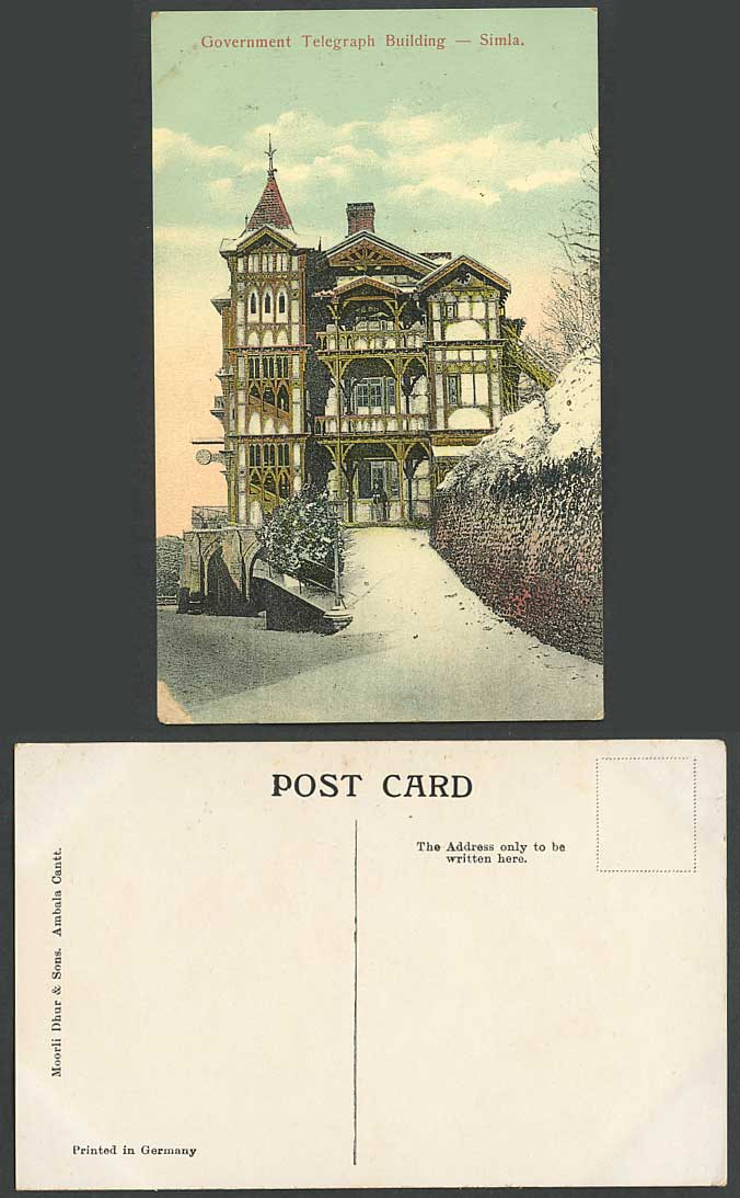 India Old Postcard GOVERNMENT TELEGRAPH OFFICE BUILDING Simla, Snowy Winter Snow