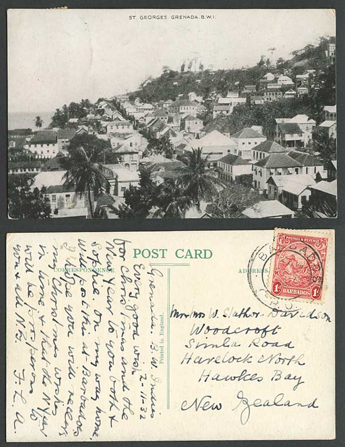 Grenada 1d Barbados 1932 Old Postcard St. George's, Panorama General View, Palms