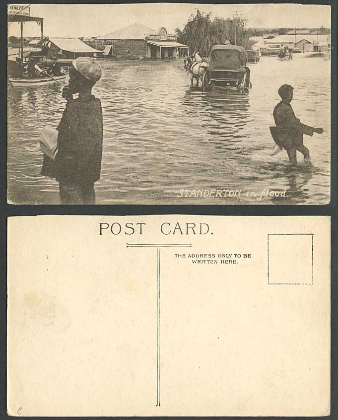 South Africa Standerton in Flood Pioneer Boat Butchery Boys Horses Old Postcard