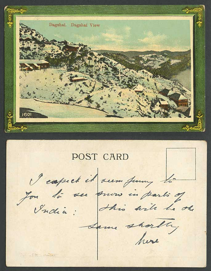 India c.1910 Old Colour Postcard DAGSHAI Winter Snowy View SNOW Mountains Hills