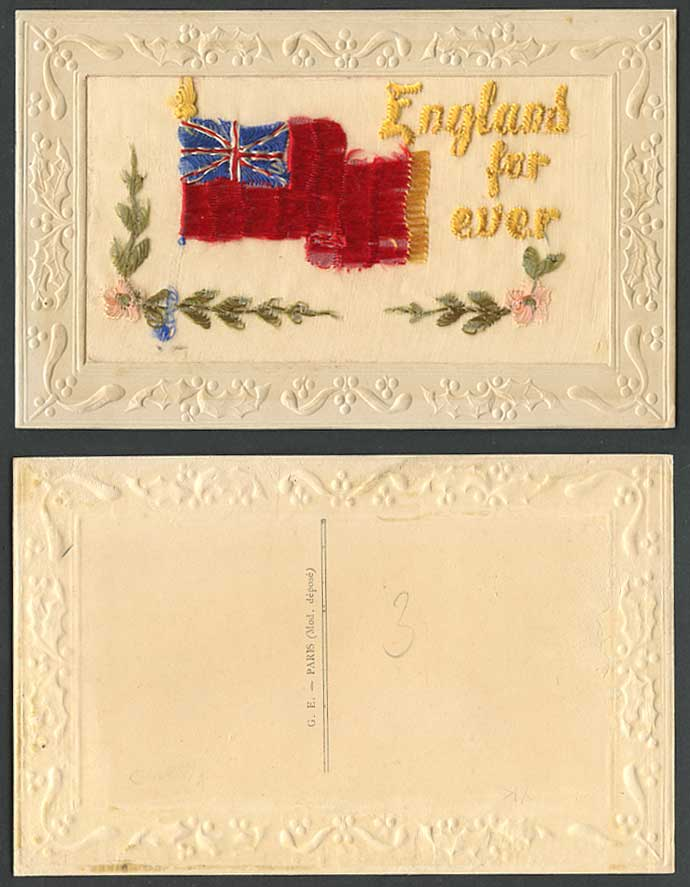 WW1 SILK Embroidered Old Postcard England For Ever Forever, Flag Flowers Novelty