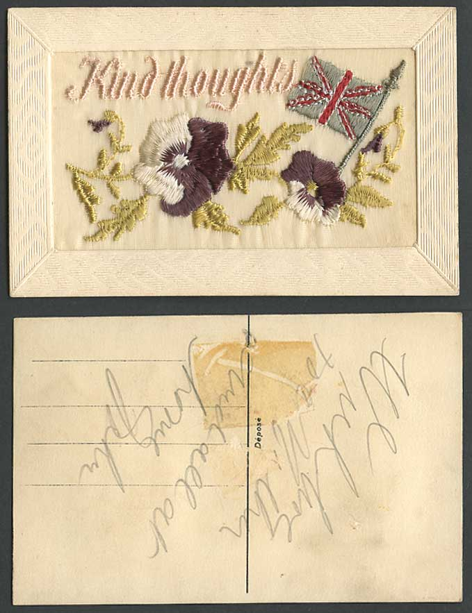 WW1 SILK Embroidered Old Postcard Flag & Flowers Kind Thoughts Novelty Greetings