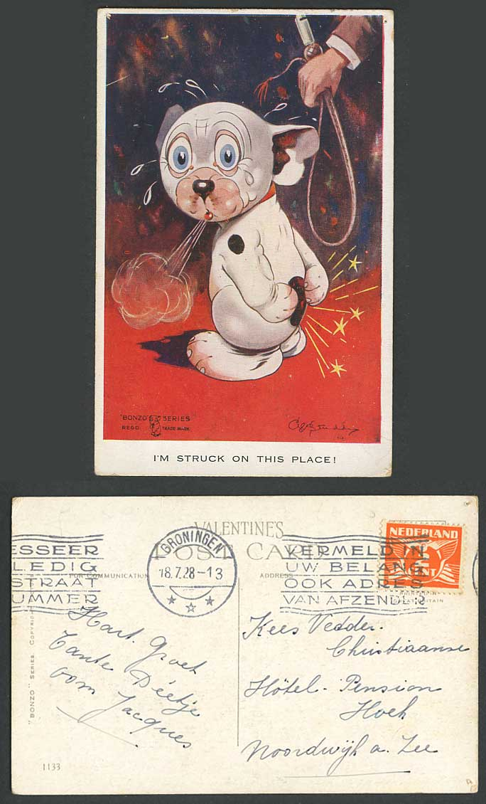 BONZO DOG GE Studdy 1928 Old Postcard I'm Struck on This Place Whip Spanked 1133