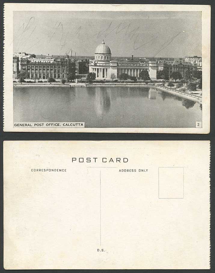 India Old Postcard General Post Office G.P.O. Calcutta GPO Lake Panorama No. 2