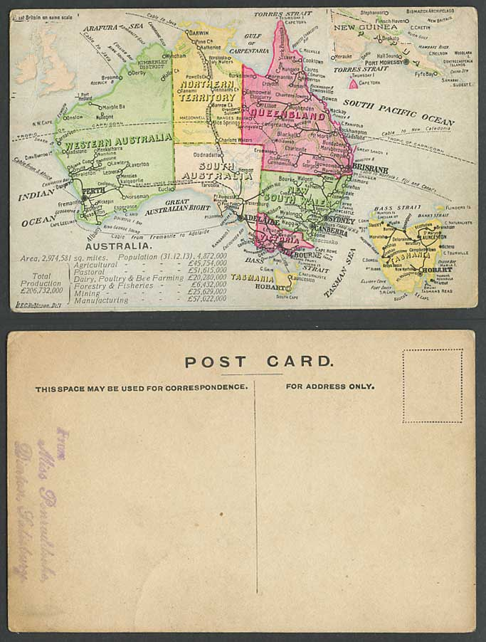 Australia MAP Tasmania Hobart Queensland Sydney Brisbane New Guinea Old Postcard