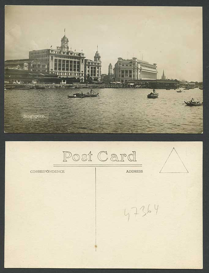 Singapore Old Real Photo Postcard View from Sea General Post Office Harbor Boats