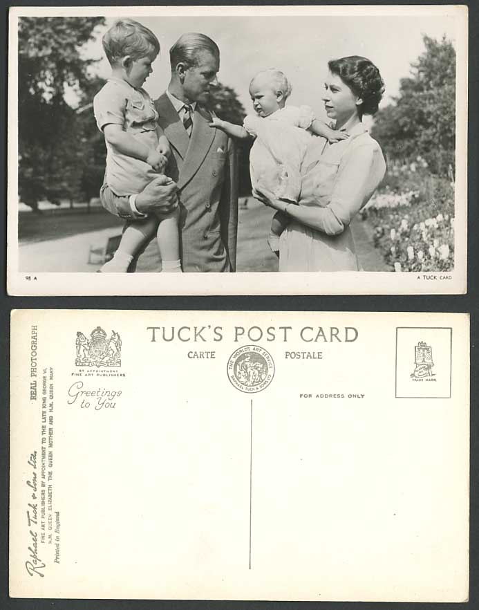 Royal Family Queen Elizabeth, Prince Philip Charles Anne Old Real Photo Postcard