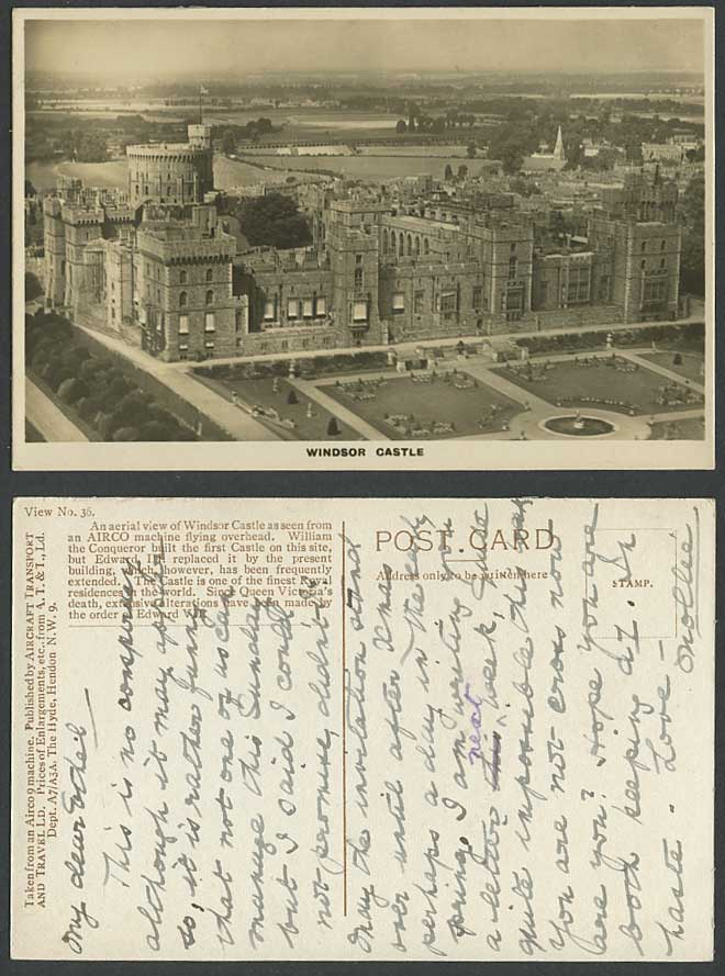 WINDSOR CASTLE Garden Panorama Aerial View AIRCO Machine Old Real Photo Postcard