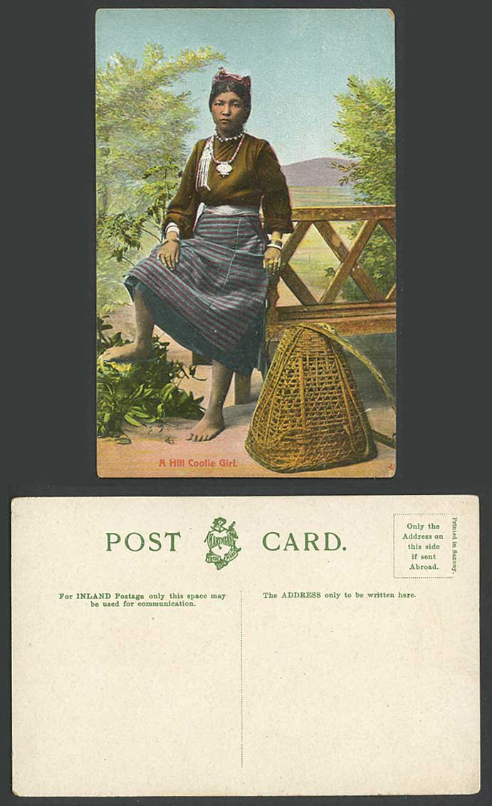Tibet China Old Colour Postcard A Hill Coolie Girl Native