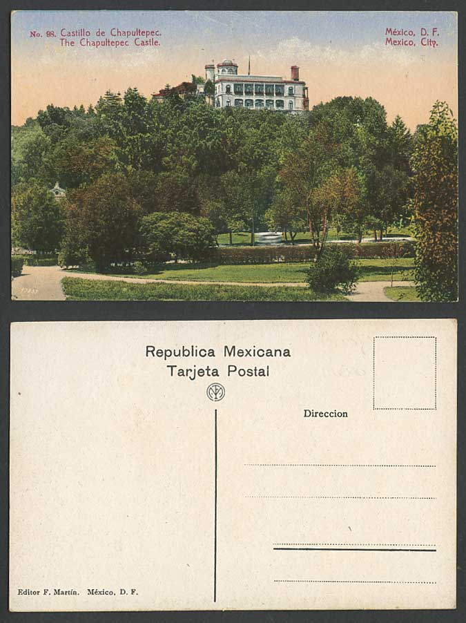 Mexico City Old Colour Postcard Castillo de Chapultepec Castle F. Martin D.F. 98