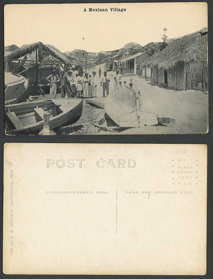 Mexico Old Postcard A Mexican Village Street Scene, Native Houses, Boats Harbour