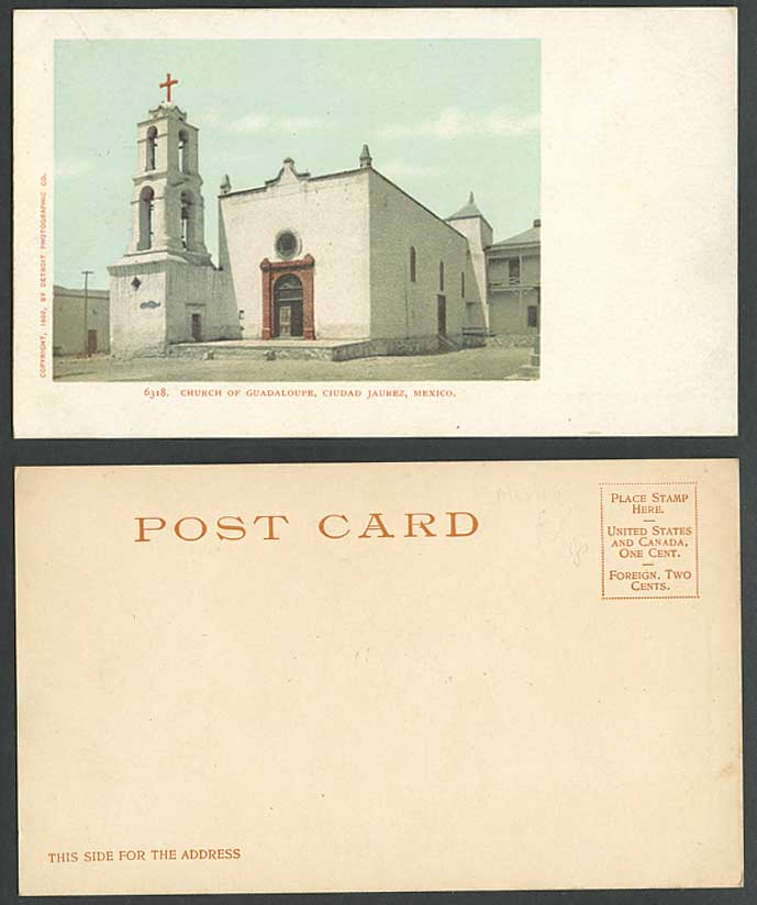 Mexico Old Colour UB Postcard Church of Guadalupe Ciudad Jaurez Cross Cathedral
