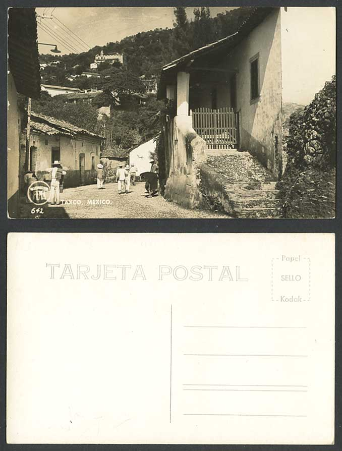 Mexico TAXCO Old Real Photo Postcard Street Scene Mexican Men, Buildings on Hill