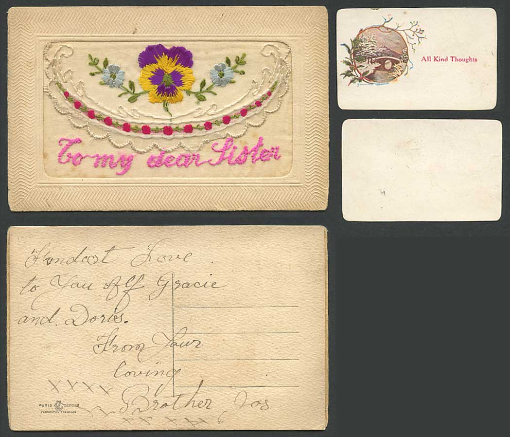 WW1 SILK Embroidered Old Postcard To My Dear Sister, All Kind Thoughts in Wallet