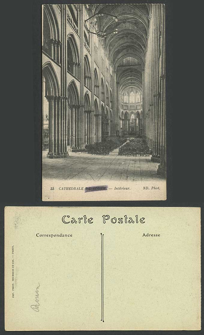 france cathedrale de rouen cathedral interior nd phot no 33 old french postcard for sale. Black Bedroom Furniture Sets. Home Design Ideas