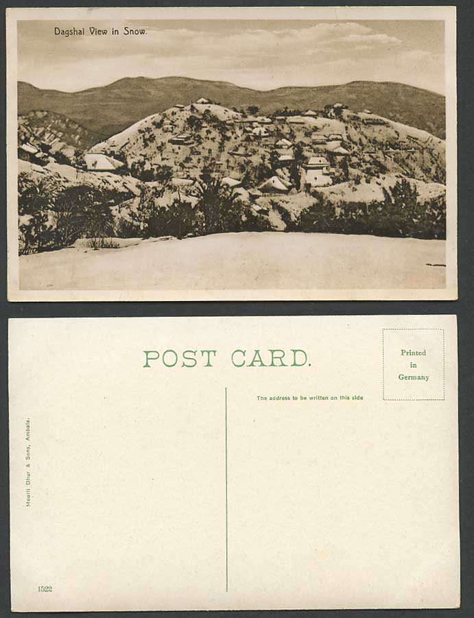 India Old Postcard DAGSHAI View in SNOW, Mountains Winter Snowy Scene Hills 1522