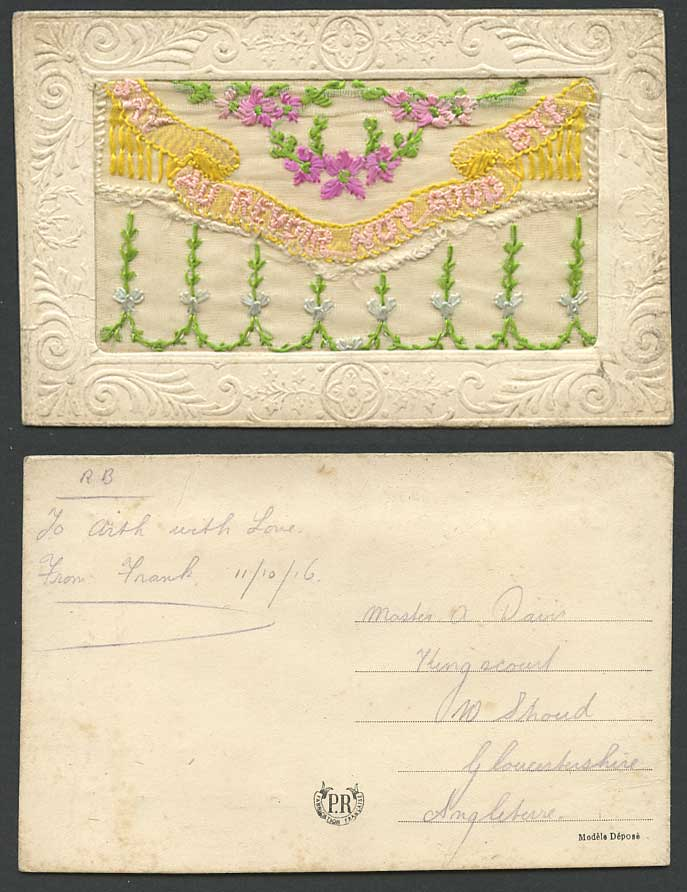 WW1 SILK Embroidered 1916 Old Postcard Say Au Revoir Not Good Bye - Empty Wallet