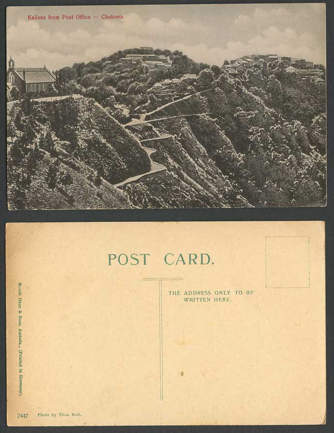 India Old Postcard Kailana from Post Office Chakrata Church Cathedral, Thos Bell