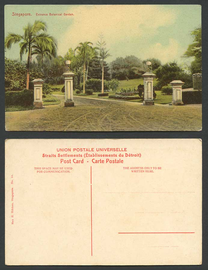 Singapore Old Colour Postcard Entrance Of Botanical Garden