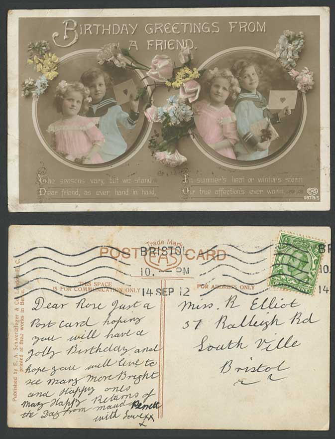 Little Girls Sailor Birthday Greetings from a Friend Flower 1912 Old RP Postcard