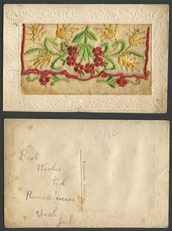 WW1 SILK Embroidered Old Postcard Flowers, Wheat, Empty Wallet Novelty Greetings