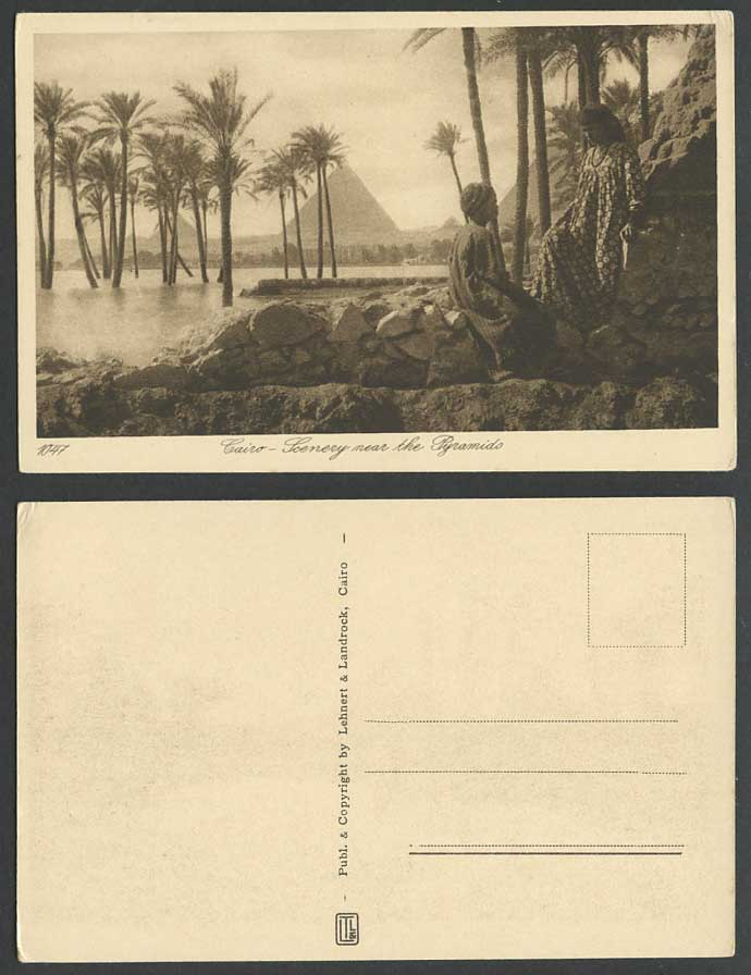 Egypt Old Postcard Cairo Scenery near Pyramids Woman Boy Palm Trees Flooded Nil
