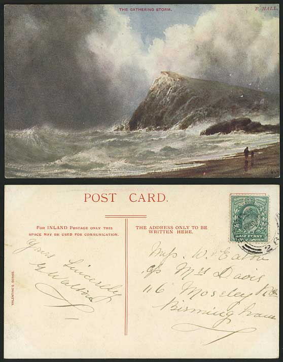 The Gathering Storm F. HALL Artist Signed 1904 Postcard