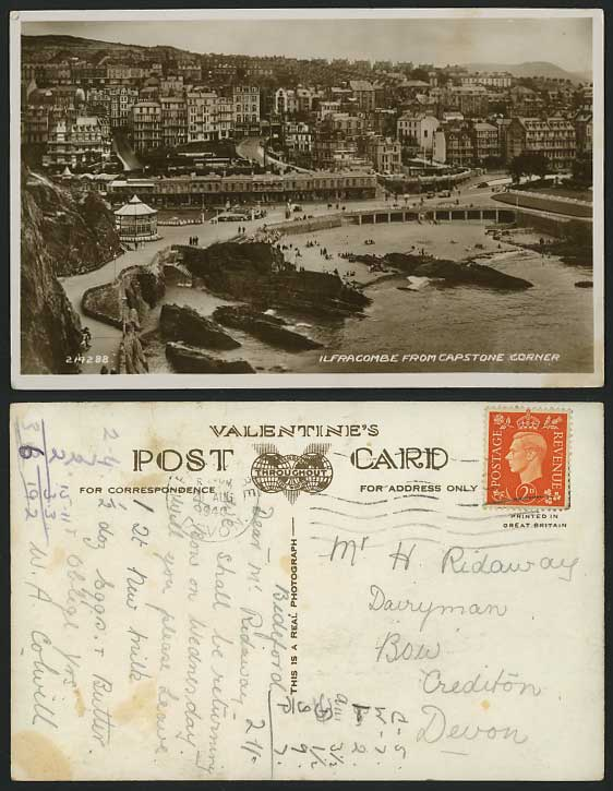 Ilfracombe from CAPSTONE CORNER 1940 Old Postcard Beach