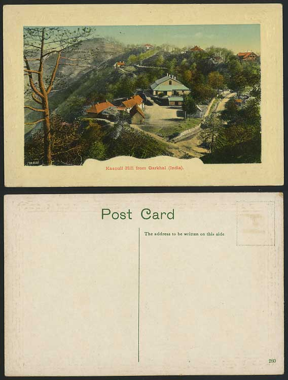 India Old Embossed Postcard Kasouli Hill from Garkhal Panorama General View