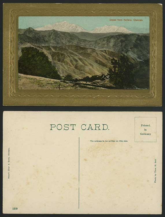 India Old Embossed Colour Postcard Mountains Snows from Kailana Chakrata