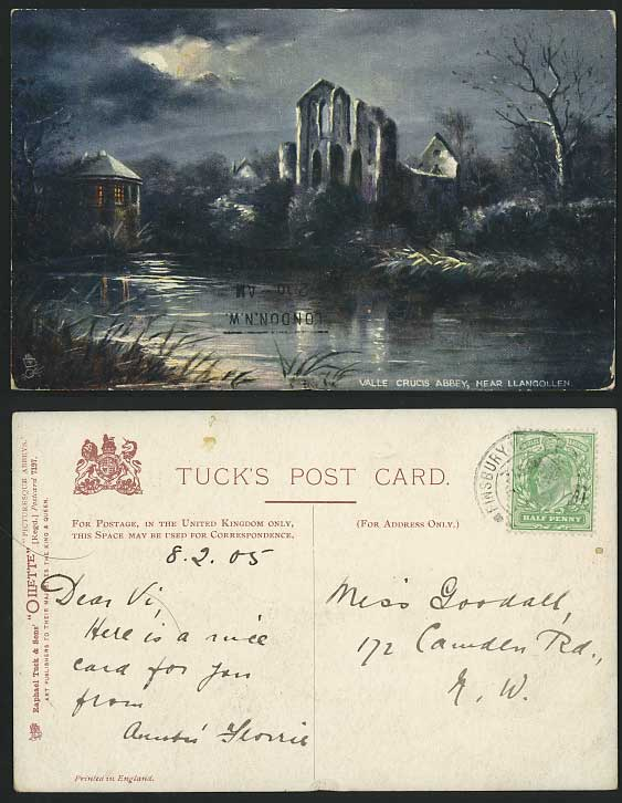 Llangollen, VALLE CRUCIS ABBEY 1905 Old Tuck's Postcard