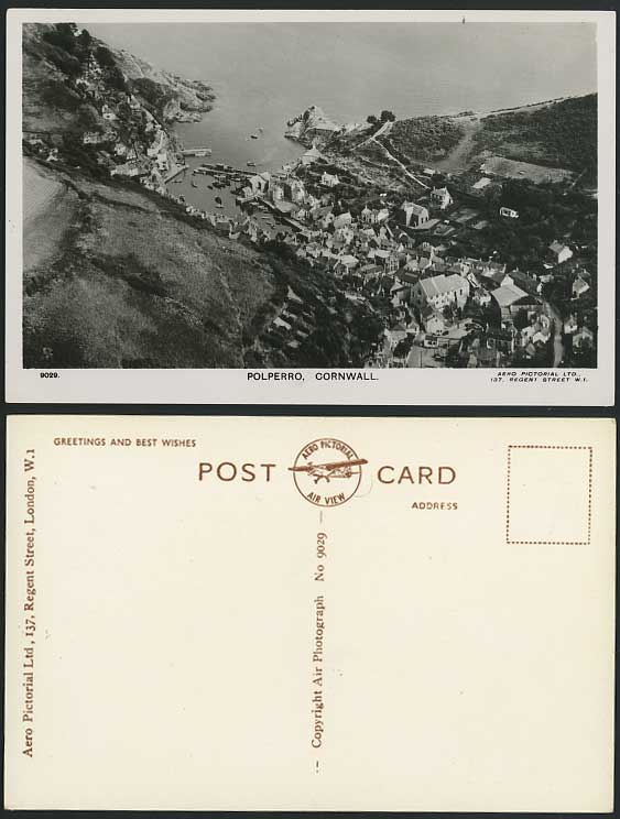 POLPERRO Aerial View Harbour Boat Cornwall Old Postcard