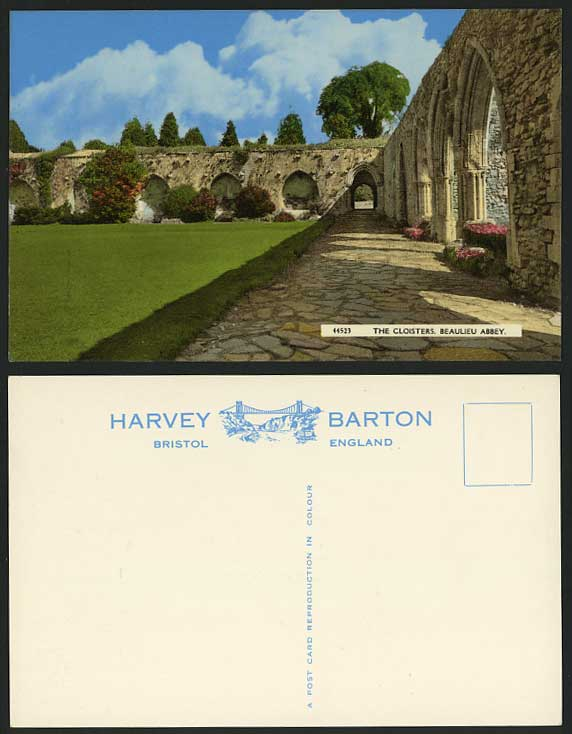 BEAULIEU ABBEY, CLOISTERS Hampshire Old Colour Postcard Church Ruins