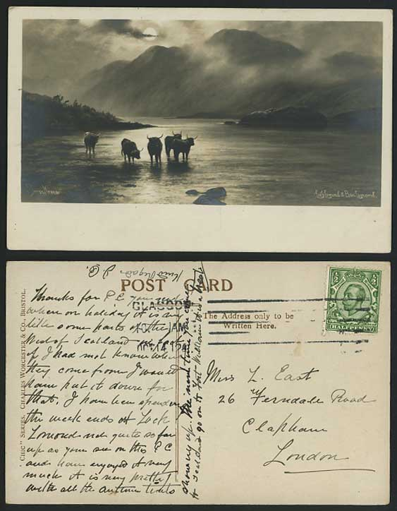 Elmer Keene Prints http://www.stamps-auction.com/elmer-keene-loch-lomond-1912-postcard-highland-cattle-for-sale-95263