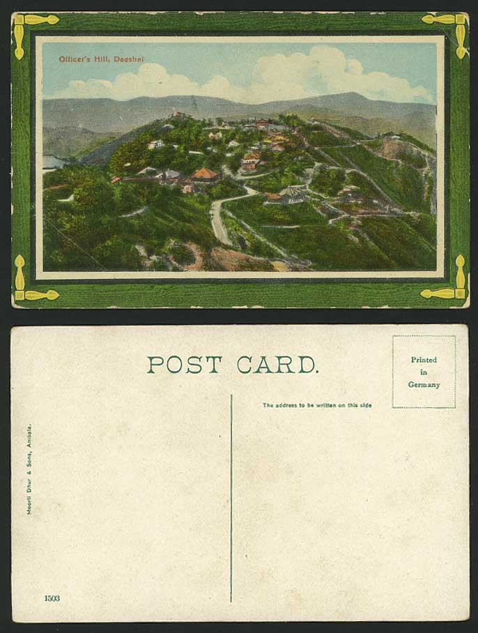 India British Old Color Postcard OFFICER'S HILL DAGSHAI