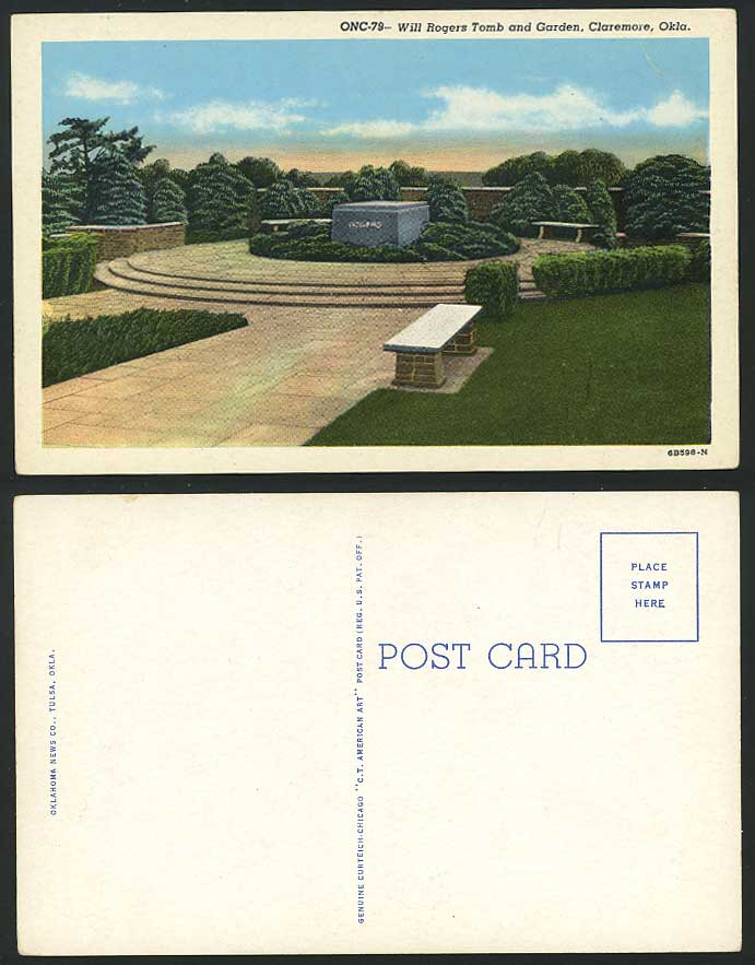 USA Old Postcard Will Rogers Tomb Garden Claremore Okla