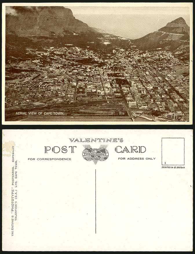 South Africa Old Postcard Cape Town Aerial View Mountains, Valentine's Phototype