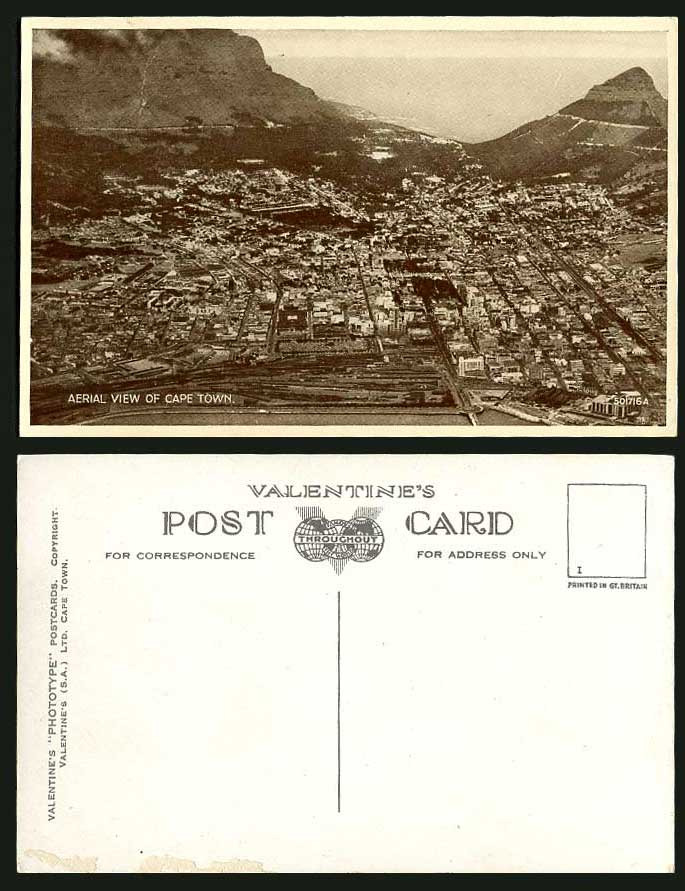 South Africa Old Postcard Cape Town Aerial View Mountains, General View Panorama