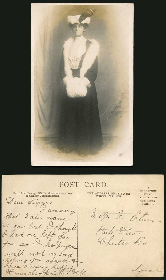 Unidentified Actress Woman Glamour Lady & Fur Muff Hand Warmer Old R.P. Postcard