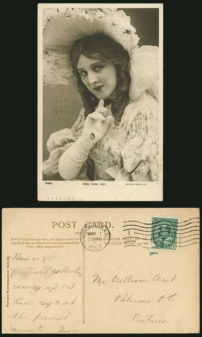 American Actress Singer MISS EDNA MAY E Pettie Glamour Lady 1907 Old RP Postcard