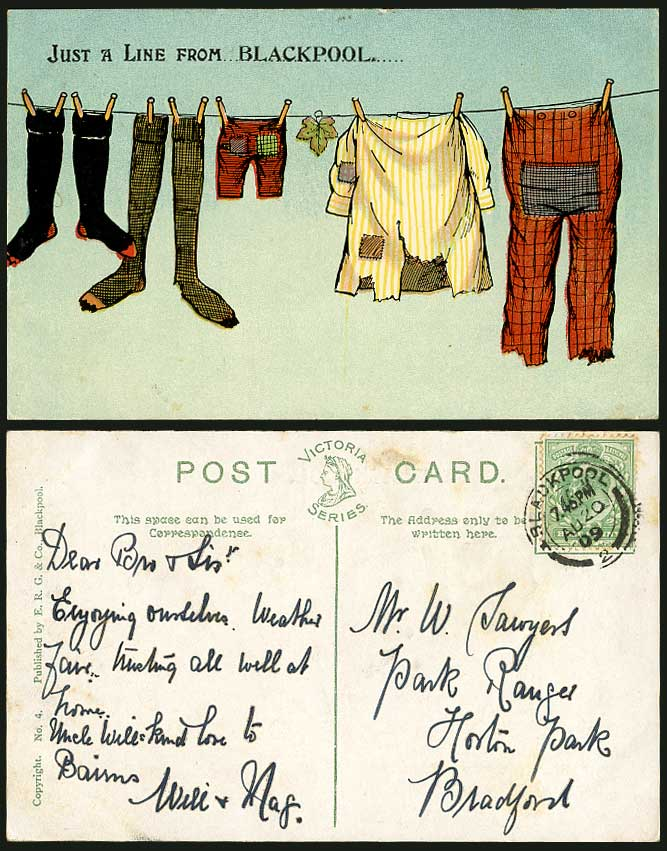 Comic Humour Just a Line from Blackpool 1909 Old Postcard Clothes Trousers Lancs