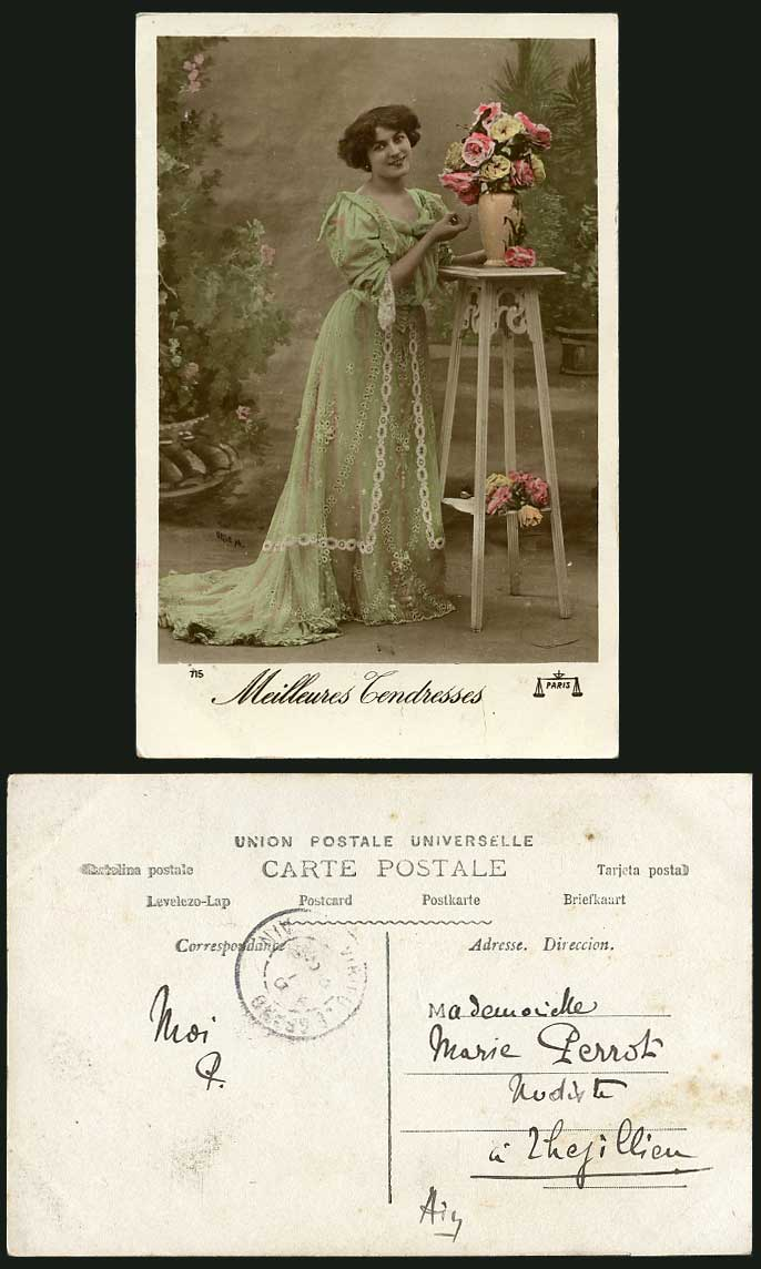 Meilleures Tendresses Glamour Woman Lady Actress Flowers Old Real Photo Postcard