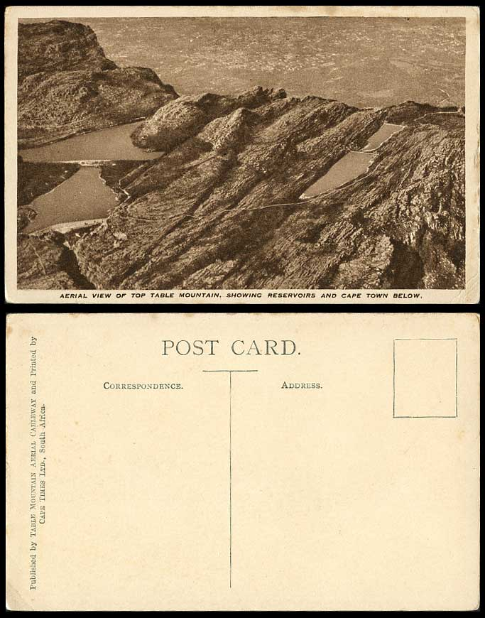 South Africa Old Postcard Aerial View of Top Table Mountain Reservoirs Cape Town
