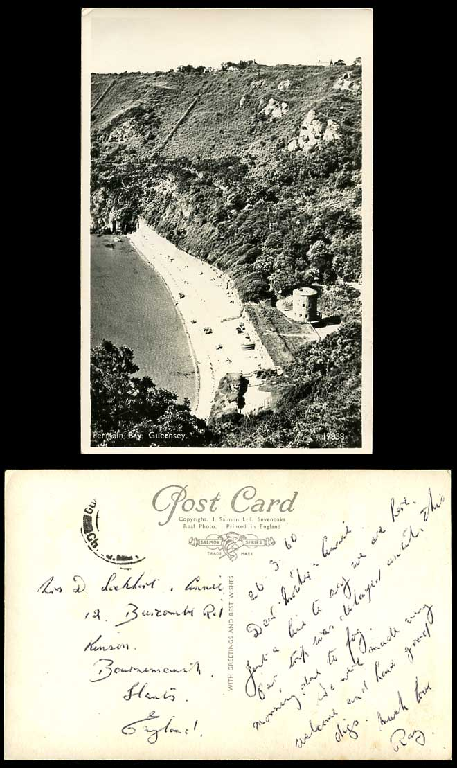 Guernsey Old Real Photo Postcard Fermain Bay Beach Sands Aerial View Round Tower