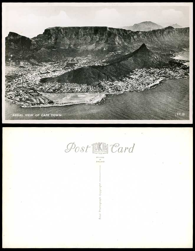 South Africa Aerial View of Cape Town Table Mountain Lion's Head Old RP Postcard