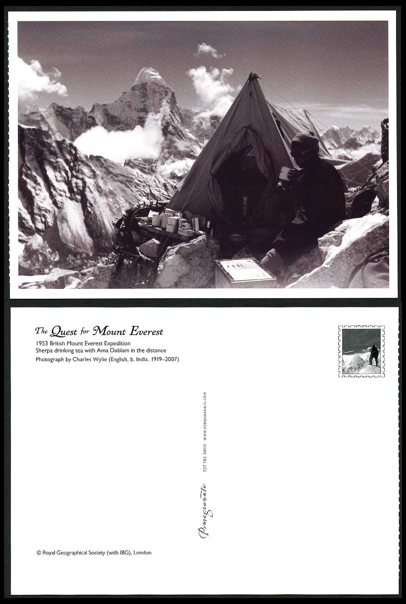 Nepal Tibet Mount Everest Expedition 1953 Postcard Ama Dablam - Sherpa drink Tea