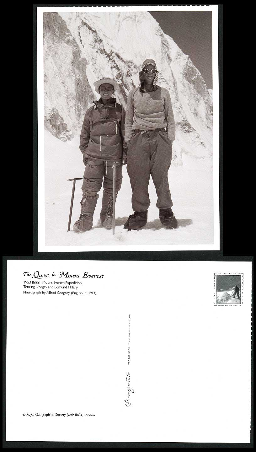 Mount Mt. Everest Expedition Quest 1953 Postcard Tenzing Norgay & Edmund Hillary
