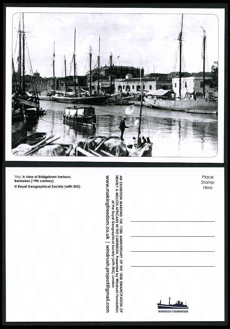 Barbados BWI Repro. Postcard Bridgetown Harbour 19th Century Fishing Boats Ships